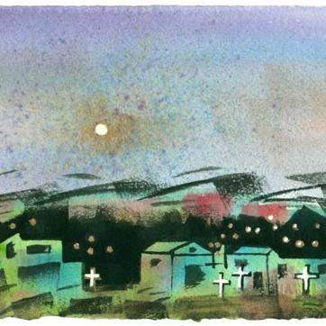 Full Moon Over Ojo Caliente / Lisa Bauer Design