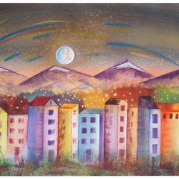 Moon Over City Different / Lisa Bauer Design